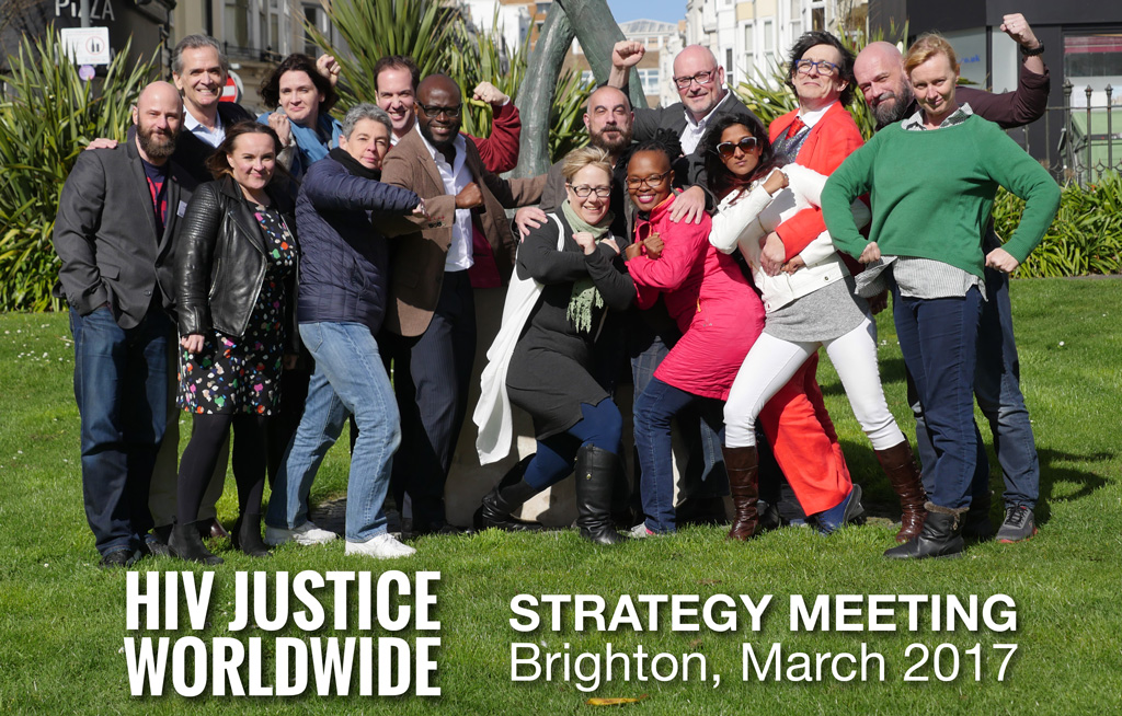 HIV JUSTICE WORLDWIDE PARTNERS* AND SUPPORTERS in front of the Brighton AIDS Memorial on New Steine during our second strategy meeting in Brighton, March 2017 - (L-R): Nicholas Feustel (Video Advocacy Consultant, HIV Justice Network*); Sean Strub (Sero Project*); Catherine Murphy (Amnesty International); Evgenia Maron (EECA Consultant); Sylvie Beaumont (Research/Outreach Co-ordinator, HIV Justice Network*); Seth Earn (AIDS Free World*); Patrick Eba (UNAIDS); Laurel Sprague (formerly HJN's Research Fellow on HIV, Gender and Justice, now Executive Director, GNP+*); Edwin J Bernard (Global Co-ordinator, HIV Justice Network*); Lynette Mabote (ARASA*); Richard Elliott (Canadian HIV/AIDS Legal Network*); Naina Khanna (PWN-USA*); Julian Hows (GNP+*); Ferenc Bagyinszky (AIDS Action Europe); and Sally Cameron (Senior Policy Analyst, HIV Justice Network*). Other participants at the meeting, but not pictured here, were: Sophie Brion (ICW*) and Lisa Power (Supervisory Board Chair, HIV Justice Network*) and Boyan Konstantinov (UNDP).